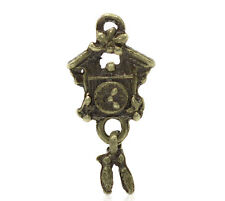 Wholesale DIY Jewelry Bronze Tone Clock Charm Pendants 25x12mm