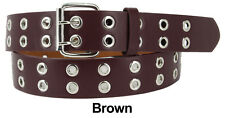 Men Women Unisex 2 Holes Row Grommet Bonded Leather Belt Removable Metal Buckle