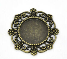 Wholesale HOT! Bronze Tone Round Cameo Frame Settings 27x27mm