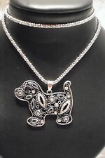 NECKLACE JEWELLERY VINTAGE STYLE, SILVER METAL TEXTURED, DIAMANTE PUPPY DROP 30""