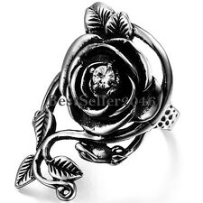 Girls Black Silver Vintage Glory Rose Vine Detailed Rose Flower Ring Size 7-10
