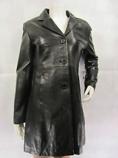 Ladies Women Real Leather Black Jacket Long Coat New Biker Style Rock Fitted