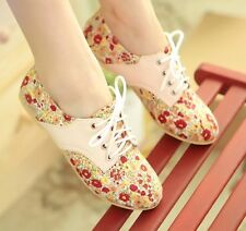 new white/pink women's floral oxfords ballet flats boat shoes lace up comfy boot
