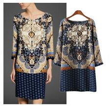 NEW  Vintage Women's floral Print  Straight Dress one piece Gown