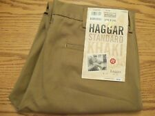NWT MEN'S HAGGAR KHAKI PANTS Multiple Sizes Straight Fit Wrinkle Resistant Brown