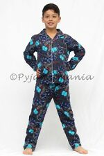 Boys Winter Cotton Flannel  2pc Pyjamas Pjs Navy Grey Motorbike sz  8 10 12 14