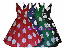 Ladies 40's 1950's Vintage Retro Big Polka Dot Rockabilly Dress New Size 10 - 20