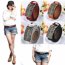 Womens Nostalgic Classic Retro Pattern Hollow Out Buckle Girdle Leather Belts