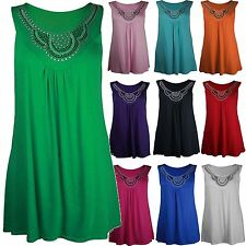 New Womens Plus Size Stud Neckline Vest Tops Ladies Tunic Tops 14-28