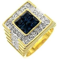14K GOLD EP 5.0CT CZ SAPPHIRE MENS DRESS RING size 9 - 14 you choose
