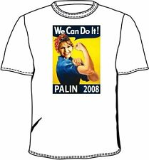 Adult White 08 Election Sarah Palin We Can Do It Rosie the Riveter T-Shirt Tee