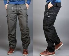 WINTER Men's cargo pants fishing waterproof lined thermal work trousers fatigue