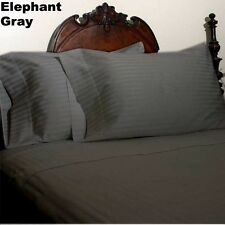 800TC Fitted Sheet 1-Piece Pure Cotton Elephant Grey Stripe---Extra USA Sizes