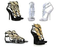 Women Angel Wing Heels Open Toe Leather Gladiator Party Roman Pumps Sandals Shoe