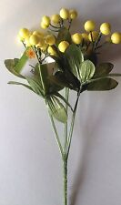 Floral Stem Yellow Or Pink Faux Berry Bush   Spring / Easter Great For Wreaths