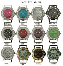 New Ladies Beading Round Baguette Stone Solid Bar Watch Face 40mm