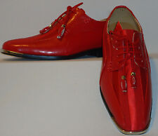 Mens Red Elegance Formal Satin Stripe Silvertip Tux Dress Shoes Expressions 4925