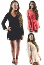 Ladies Womens New Long Sleeve Plunge Neck Chiffon Playsuit Size 8 - 14