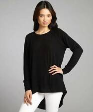 LNA Bristol Sweater Black knit woven crewneck long sleeve rounded high - low NEW