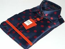 MENS LEONARDI SHIRT NAVY BLUE/RED POLKA DOT F/C SILKY SHINNY MUSICIAN $120   192
