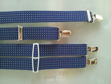 Mens braces WOVEN DESIGN blue grey black 35mm with 4 high Quality clips classic
