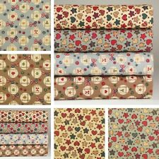 4 Fat Quarters or 1 Yd 100% Cotton Fabric Multi-Color Star Heart Sewing K M-003