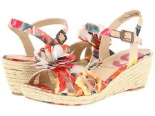 Nine West Kids Even Strappy sandals wedge pink floral shoes size 12.5 KID 30 EUR