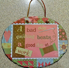 SEWING, QUILTING, CRAFTING DECORATIVE WALL PLAQUES - SLATE-STONE TYPE - CUTE!