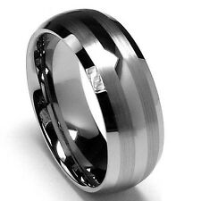 Men's Tungsten Carbide Double Brush Stripes Ring 8mm Size 7.5 to 14.5