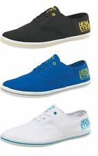 Henleys Troy lace up canvas lace up rubber plimsoll trainers black/blue/white