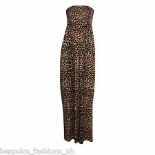 New Ladies Womens Animal Leopard Shirring Bandeau Maxi Dress Plus Sizes 8-22