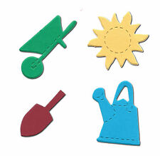20 die cut shapes garden sun trowel wheelbarrow watering can 4x4cm card making