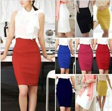 Womens Slim Fitted Business Knee Length Straight  High Waist Office Pencil Skirt
