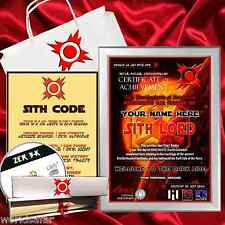 SITH LORD CERTIFICATE + PARCHMENT SITH CODE! Personalised gift, Star Wars themed