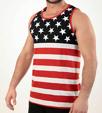MEN'S STARS AND STRIPES TANK TOP USA FLAG SLEEVELESS SHIRT AMERICAN PRIDE S-XL