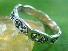 925 sterling silver plain OXIDISED filigree THIN band Ring size 4.75  -13.75 us