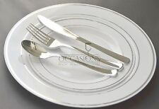 Wedding Disposable Plastic Plates silver cutlery w/ Masterpiece mugs cups option