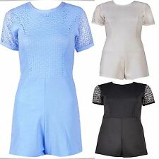 New Womens Fishnet Playsuit Dress Crochet Lace Jumpsuit Dress 8-14