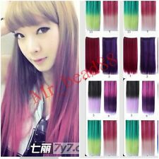 Two Tone Gradient Hair Ombre Hair Hairpieces Clip in Hair Extensions 12Colors