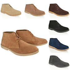 MENS BOYS REAL SUEDE DESERT CHUKKA LACE UP COMFORT CASUAL SMART BOOTS SHOES SIZE