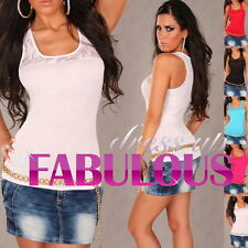 NEW SEXY WOMEN'S LACE TOP PARTY CASUAL EVENING SINGLET SHIRT BLOUSE CLOTHES WEAR