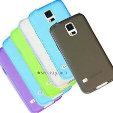 Thin Half clear matte soft tpu case cover for Samsung Galaxy S5 I9600 SV + Film