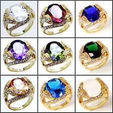 Golden Men's 10KGP Yellow Gold Plated Ruby Topaz Sapphire Peridot RING Gift