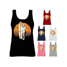 Womens Storm Trooper Surfboard Surfing Star Wars Vest Tank Top NEW UK 8-18