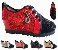 women high top  diamentes crystal hidden wedge booty trainer shoes in black