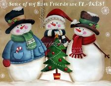 Best Friends are Flakes Country Snowmen Christmas 3 sizes Quilting Fabric Block