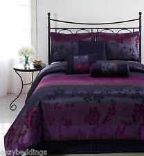LIZ 7pc Jacquard Multi Purple Color Comforter Set Embroider FULL, QUEEN KING, CK