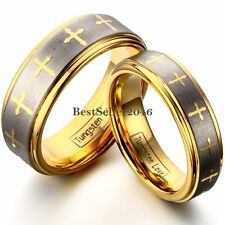 Tungsten Carbide Gold Laser Etched Multi Cross Brushed Stripe Ring Couples Band