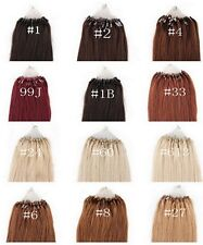 All Size 1g/s Loop Micro Ring Real Human Hair Extensions 100g/pack 11 Colors