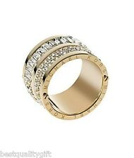 NEW-MICHAEL KORS GLAM ROCK GOLD TONE PAVE CRYSTALS,BAGUETTE BARREL RING SIZE 7,8